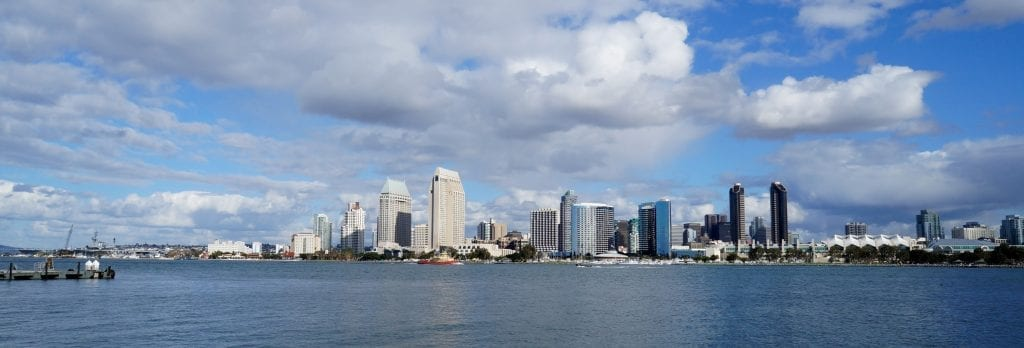 San Diego skyline from the waterfront.