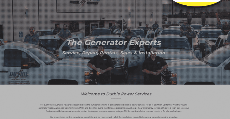 Screenshot of the Duthie Power Services website home page with the customer portal Login button highlighted.