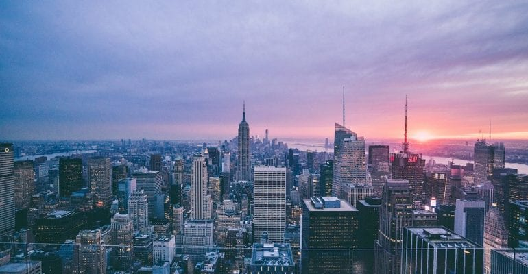 Skyline of New York City at sunset.