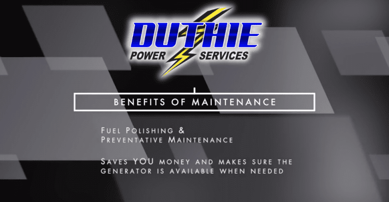 Screenshot of the opening credits for a tutorial video on diesel fuel polishing produced by Duthie Power Services.