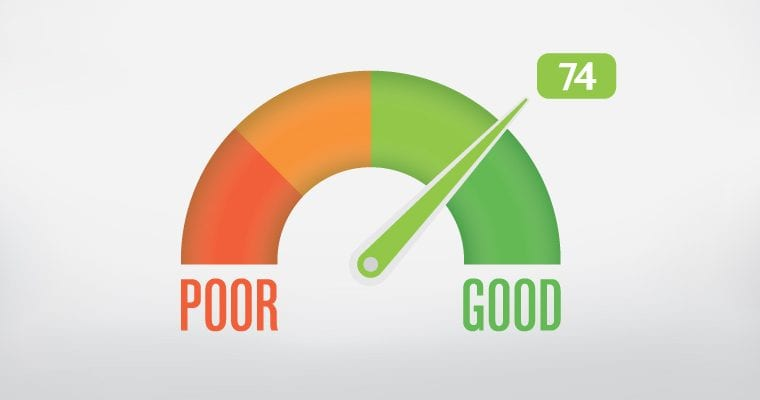 Graphic of a meter showing an arc from Poor to Good with the arrow pointed toward 74 on the Good side.