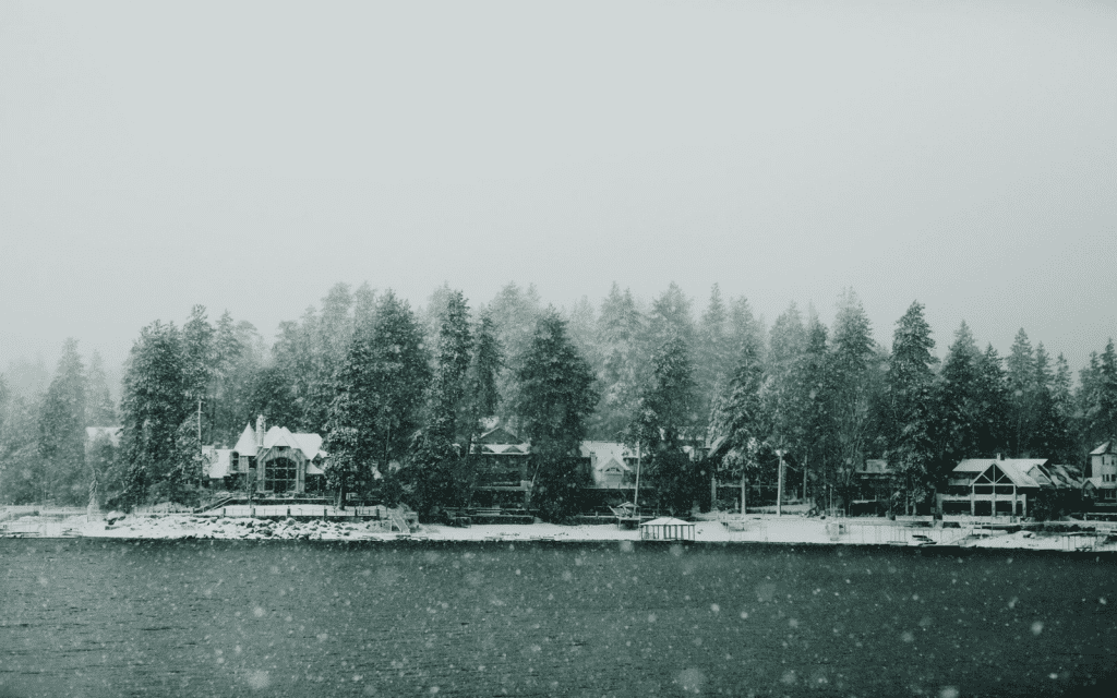 Lakeside homes in a winter storm.