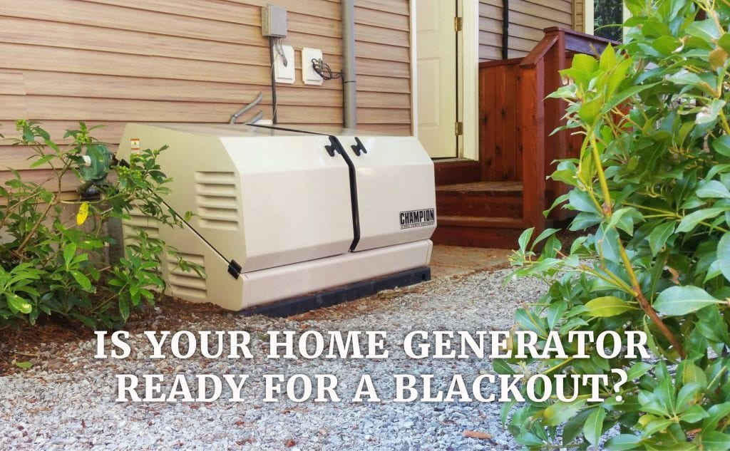 Champion home generator installed near the side garden of a house.
