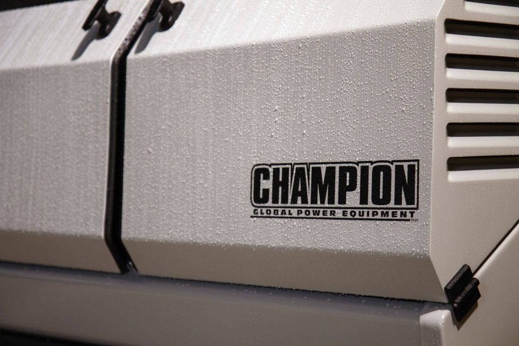 Exterior of a Champion home generator with moisture on the surface.