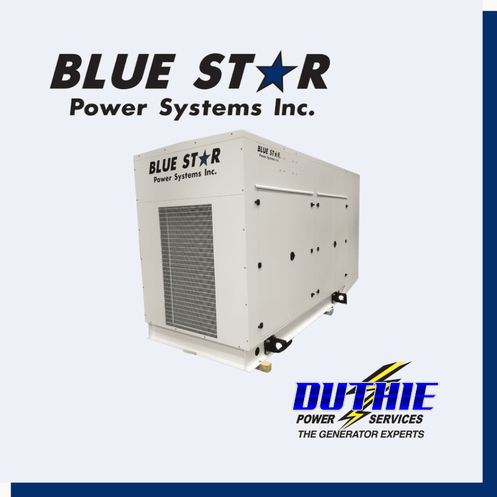 Blue Star Power Systems, Inc. generator unit and logo.