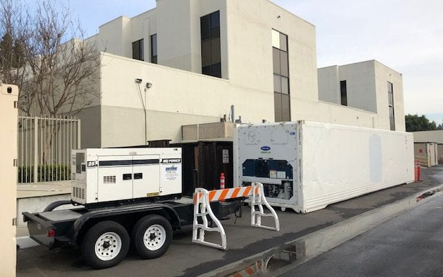 Duthie rental generator supplying power to a mobile morgue.