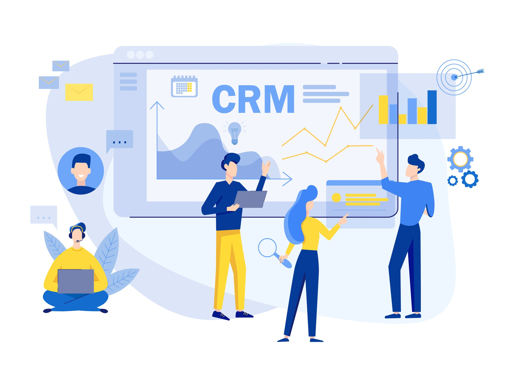Customer relationship management concept background. CRM vector illustration. Company Strategy Planning. Business Data Analysis.