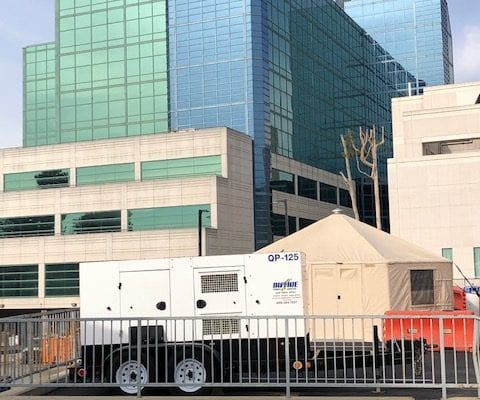 Duthie Power rental generator at a hospital for emergency backup power.