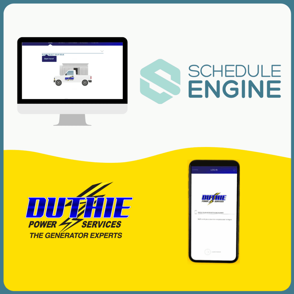 Desktop monitor and cell phone screen showing log in to Schedule Engine scheduling portal for Duthie Power customers.
