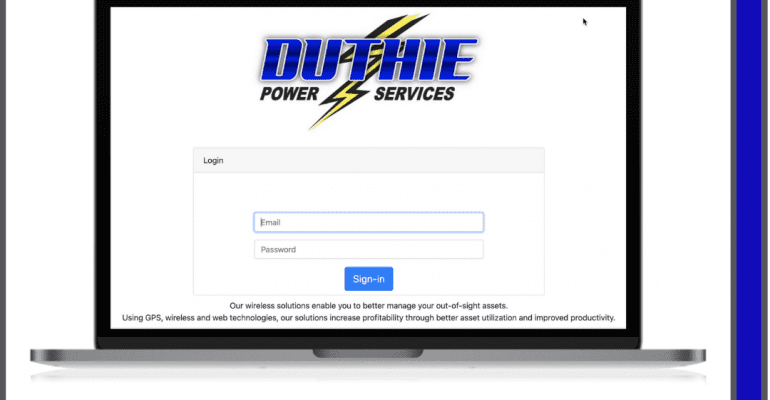 Laptop screen showing duthieremote.com, a new website for remote generator monitoring.
