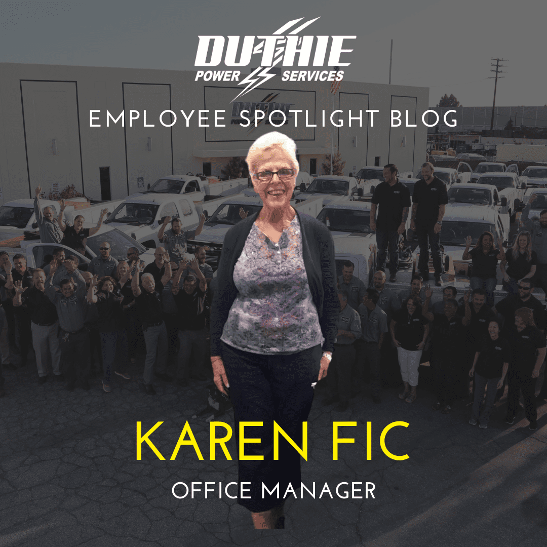 Duthie Power employee spotlight picture of Karen Fic with group picture of Duthie staff in background.