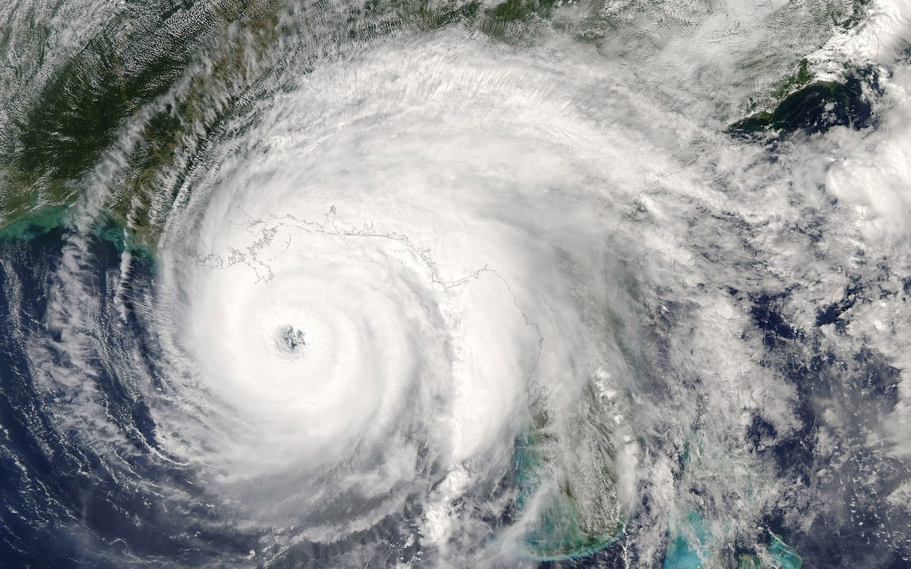 Category 5 super typhoon from outer space view. The eye of the hurricane.