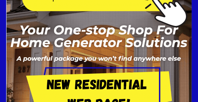 Screenshot of Duthie Power's newly redesigned webpage for home generator sales with a graphic of a finger clicking on the web address.